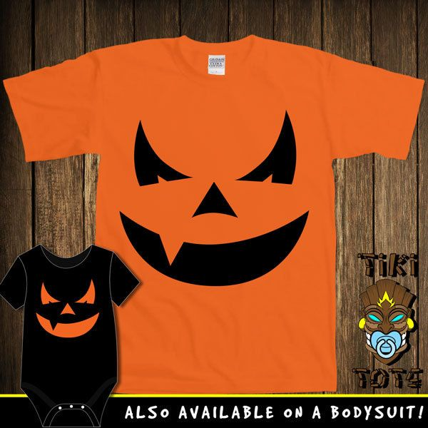 Funny Jack-O-Lantern Pumpkin Halloween Costume Bodysuit Toddler Youth T-shirt Tee Shirt Cute Baby Infant Clothes New Born Boy Girl Shower (16.00 USD) by TikiTotsShop