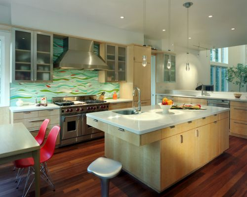 Let your personal style adorn the walls in your kitchen with a custom work-of-art stained glass backsplash. From Our Design Connection, Inc. Blog   Kansas City Interior Designer