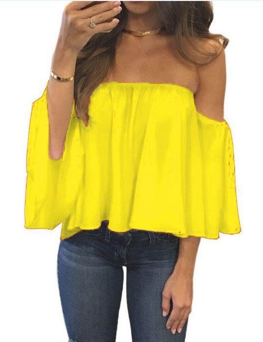 1bbc04ad775 Sexy Off Shoulder Long Sleeve Chiffon Loose Blouse(Enlarging code) – May  Your Fashion