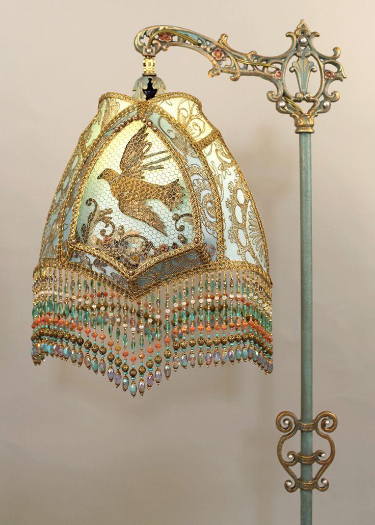 Nightshades - Versaille Shadowbox Victorian Lampshade on Antique Floor Lamp