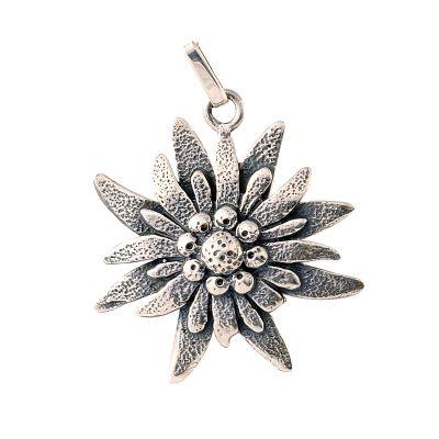 Silver pendant big silver edelweiss