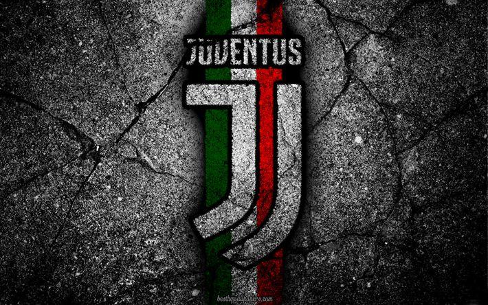 Descargar fondos de pantalla Juventus, con textura de piedra, nuevo logo, de la Serie a, el arte, el nuevo logotipo de la Juventus, la juve, el fútbol