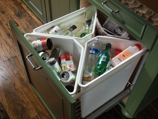 Compact drawer waste sorting