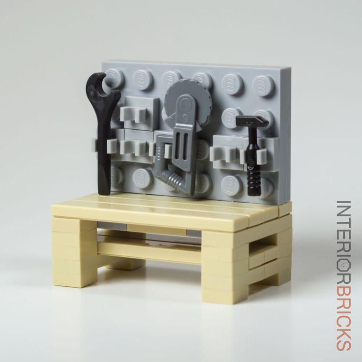 LEGO Furniture:  Garage Workbench & Tools : Custom Set w/ Instructions [minifig #LEGO