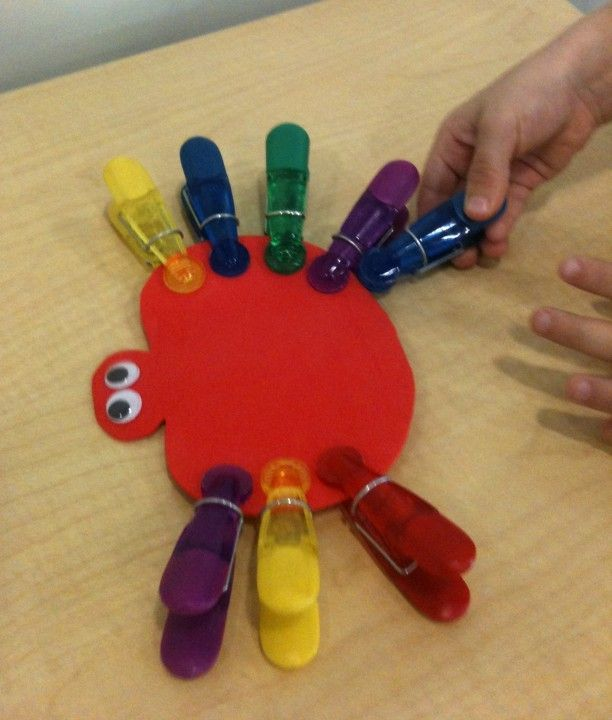 Strengthen little fingers by clipping Itsy Bitsy Spider legs! Dollar store clips. Great as a motivational activity too... Give one leg for each answer!