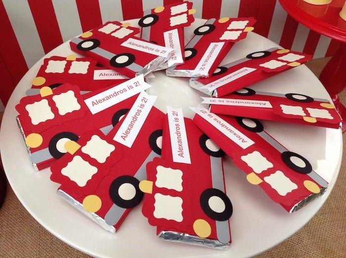 Firetruck candy bar wrappers! Fire Truck themed birthday party with such cute ideas via Kara' s Party Ideas KarasPartyIdeas.com