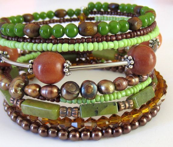 Wide Green and Brown  Beaded Memory Wire Bracelet by JulepTulip, $34.00