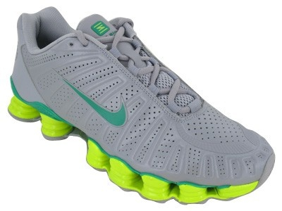 nike shox grey and green