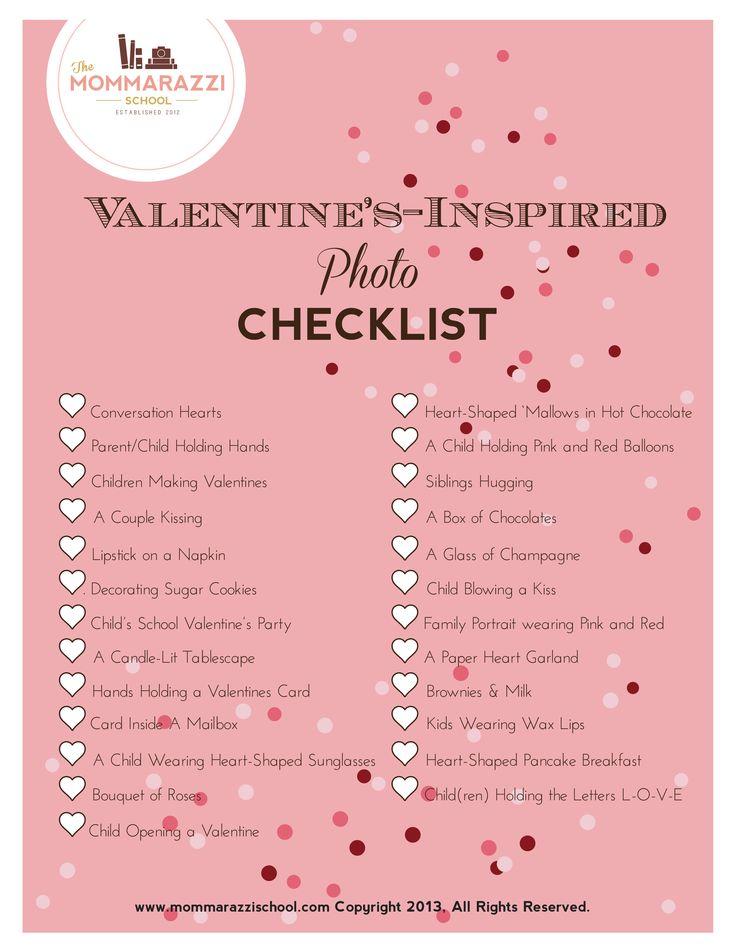 Free Valentine's Day Photo Checklist Printable | The Mommarazzi School