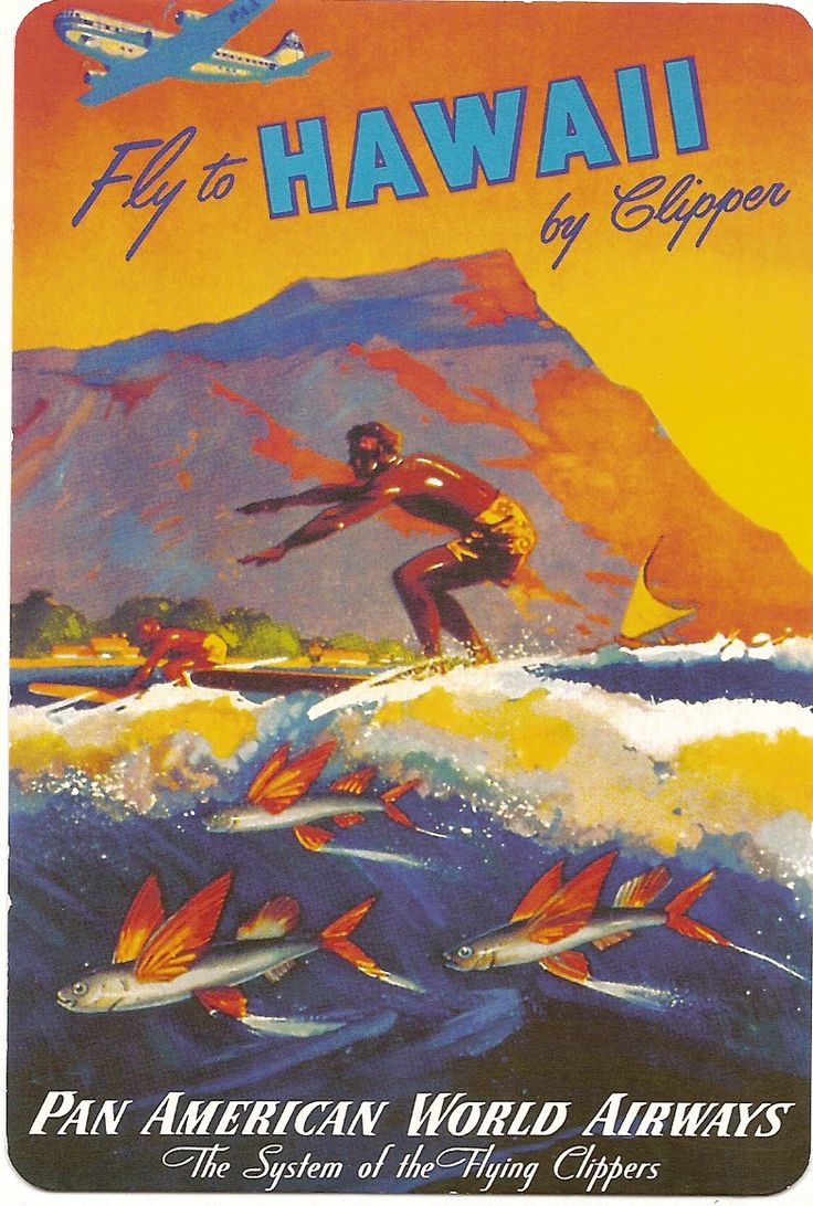 Pan American Airlines Posters | Fly to Hawaii -Pan American Airways travel poster, 1940