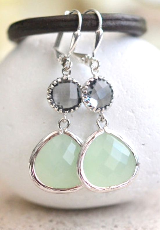 Light Mint and Charcoal Jewel Drop Earrings in Silver. Mint and Grey Bridesmaid Dangle Earrings. Jewelry Gift Her. Wedding. Christmas Gift.