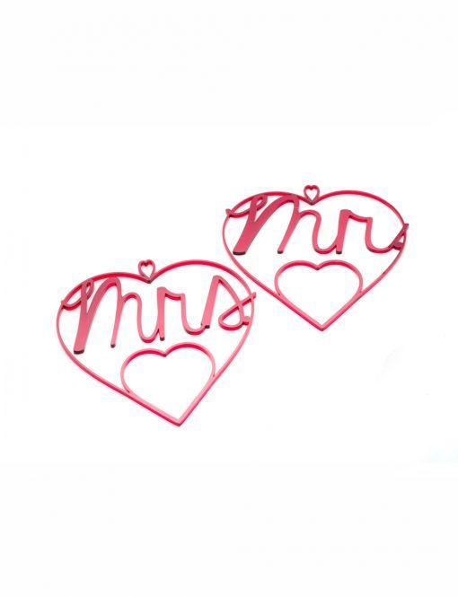 Corazones de metacrilato Mr & Mrs