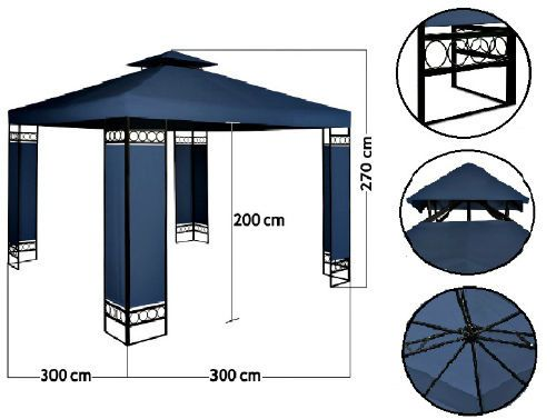 Metal Gazebo Pavilion 3x3m Patio Blue Reception Awning Canopy Party Wedding Tent #Unbranded