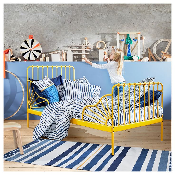 IKEA MINNEN Ext bed frame with slatted base dark yellow