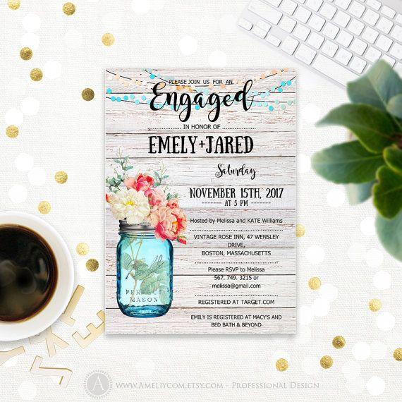 Printable Mason Jar Engagement invitation template by AmeliyInvitehttps://www.etsy.com/listing/472901444/printable-mason-jar-engagement