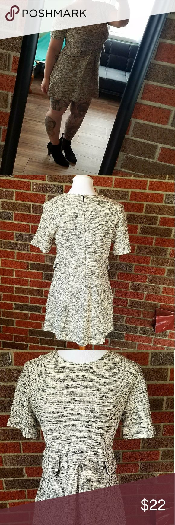 Forever 21 Tweed Short Sleeve Dress Gently worn. Black and white colors running into each other. Tweed look. Has on pleat in the front. A faux pocket on each side. Zipper up back. Short sleeve. Size Large. Forever 21 Dresses
