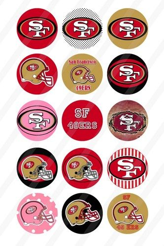 San Francisco 49ers bottlecaps 1 inch round 4x6 sheet 104