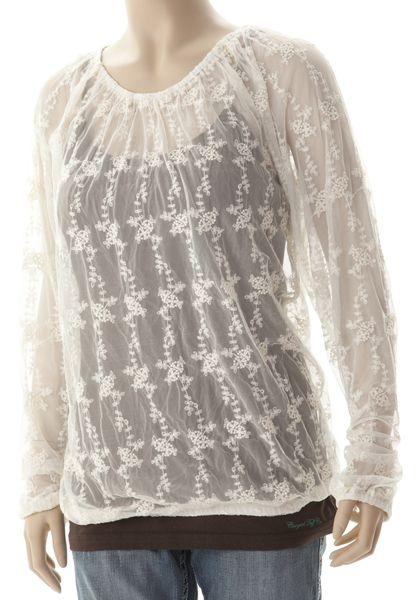 Cowgirl Tuff Women's Cream Long Sleeve Top