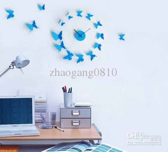 Delightful Wholesale New 3D Art Modern Design DIY 12 Butterfly Time Wall Clock Home  Decor Stickers,