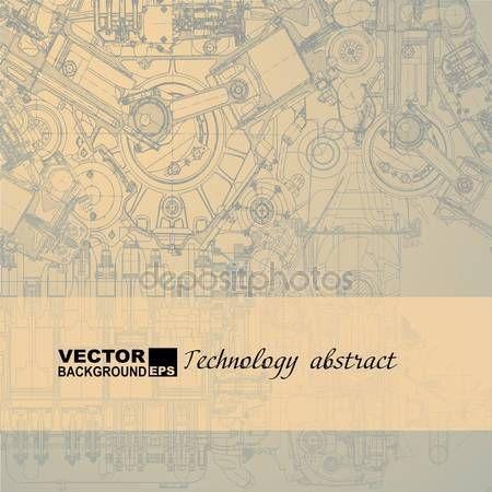 Pobieraj - Retro zaplecza technicznego, rysunek silnik — Ilustracja stockowa #34480011