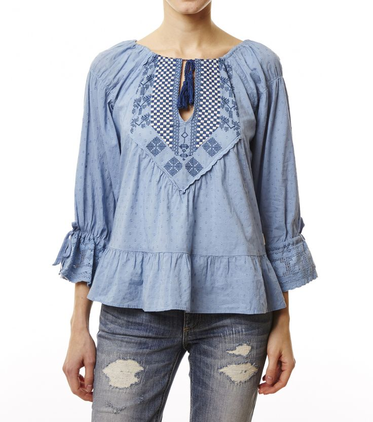 ODD MOLLY LIGHT INDIGO LADY LUCK BLOUSE