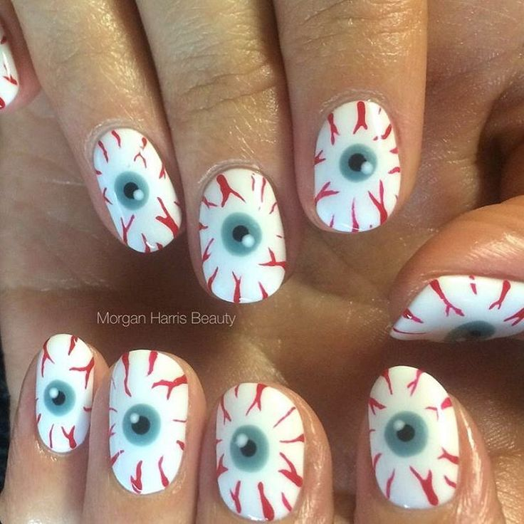 An eyeball manicure is a must for Halloween.
