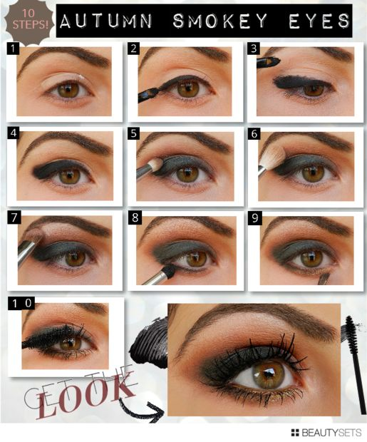 A reddish brown tinged smokey for green eyes makeup