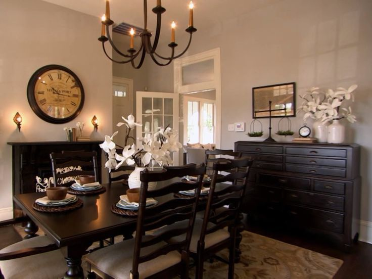 Dining Room Of Trashy House Love That Light Fixture Not A Big Fan Black Furniture But I See Why She Did It To Match The Fireplace