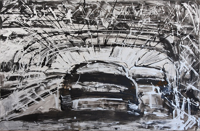 "Mina Papatheodorou Valyraki: ""Black car in silver bridge"", 2011"