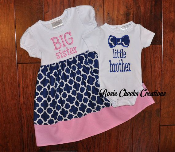 Big Sister Dress Little Brother Bow Tie by RosieCheeksCreations