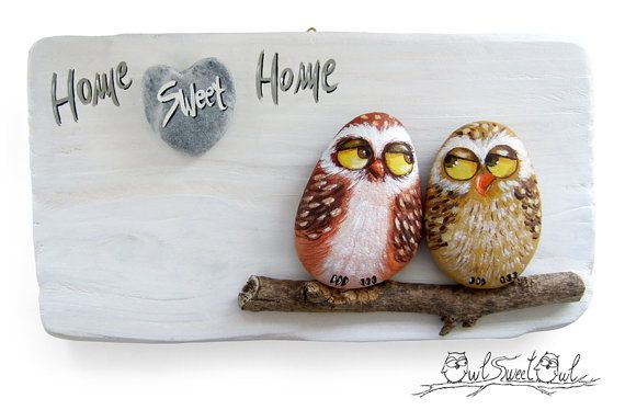 Unique Handmade 'Home Sweet Home' Owls Artwork | 3-D Painting Made with Painted Pebbles, Stick and a Marble Heart