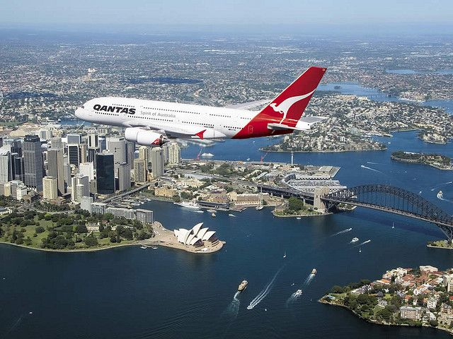 A380 over Sydney Harbour