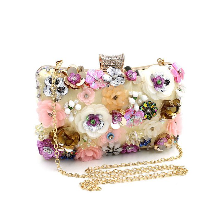 NATASSIE Women Embroidery Flower Bags Female Floral Beaded Bag Clutches Purses With Chain #eveningbag #partybag #eveninclutch #clutch