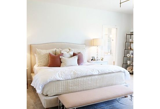 First, place two pillows in pillowcases, followed by two euro shams and finally two front-facing pillows. Accent with a lumbar or bolster pillow for extra flourish. |