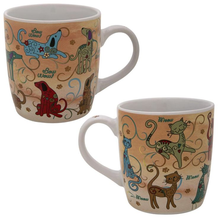 Festival Pet Mug Item # 78843  - Furry festivities grace these cat and dog mugs. From wagging tails and long whiskers to dainty paw prints, these large ceramic mugs are a purrfect addition to any pet-lover's home!