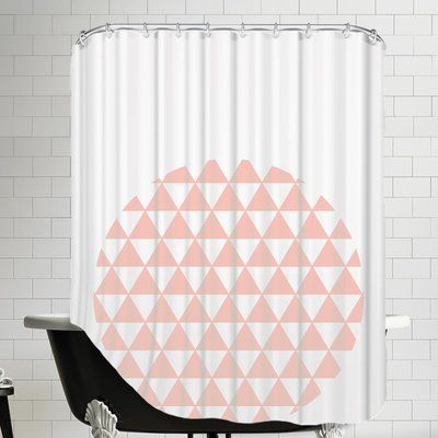 East Urban Home Triangle Coral Shower Curtain