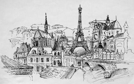 París, dibujo a lápiz