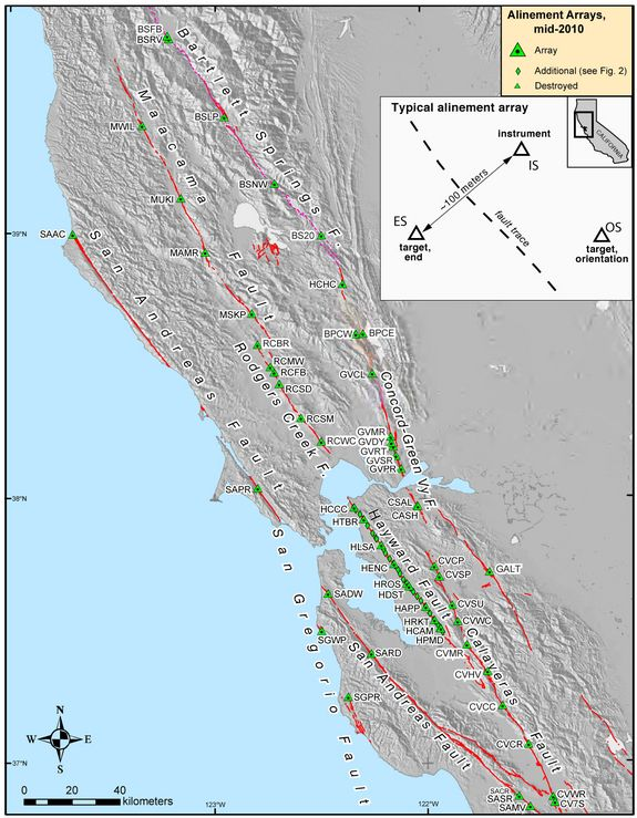 Map of Bay Area earthquake faults and creep measurement sites. Credit: USGS