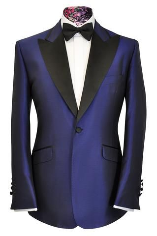 William Hunt Savile Row The Morgan Cobalt Blue with Contrasting Black Lapel 2 piece Suit