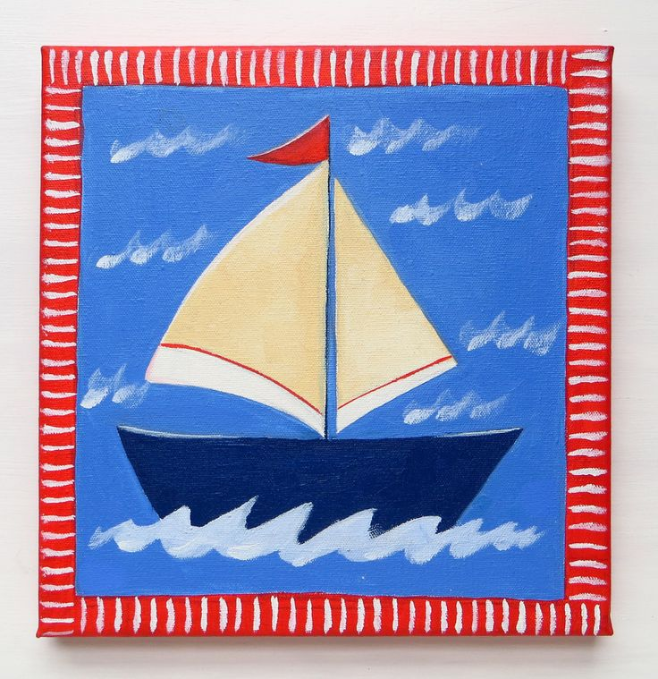 Blue Boat, Nursery Room, It's a Boy, Baby Boy Room, Hand Painted, Oil Painting, Square Canvas 20x20 cm, Sailboat, Ahoy its a Boy, MikiMayo by MikiMayoShop on Etsy