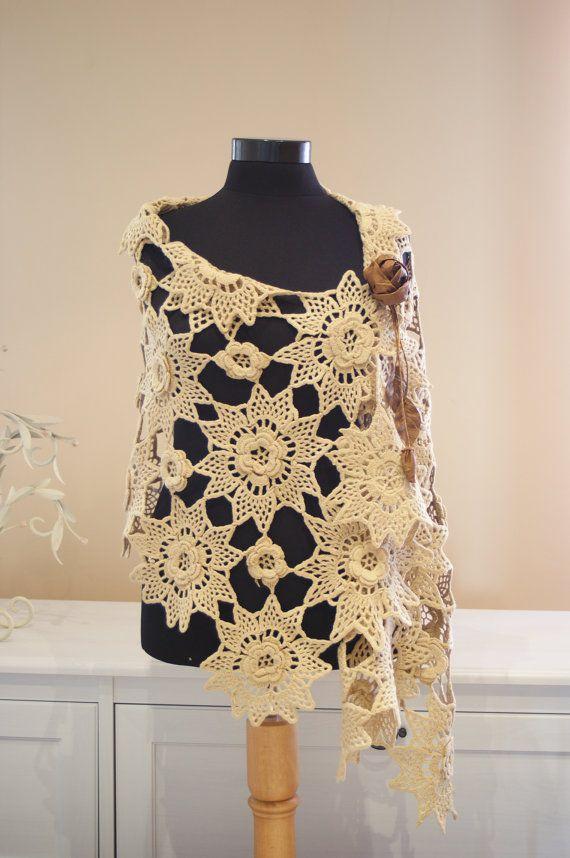 Ivory Floral Crochet Shawl