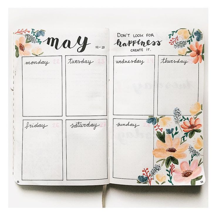 """515 Likes, 19 Comments - Bullet Journal and lettering (@my.first.bu.jo) on Instagram: """"New week, new flower spread! I really loved the colors I used this time! Happy monday! . . . .…"""""""