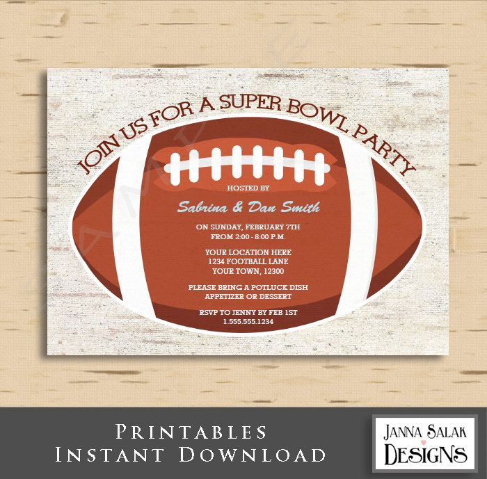 Football Super Bowl Invitation 5x7 Invite Diy INSTANT DOWNLOAD You Edit PDF by JannaSalakDesigns on Etsy