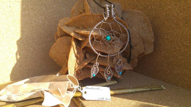 Ciondolo acchiappasogni - Dreamcatcher wire in alluminio color bronzo handemade free nichel con pietre turchesi