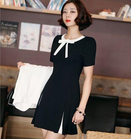 """Style:korea fashion Material:cotton Colors:white, black Size:S.M.L.XL.XXL. Size S: Bust:84cm/32.76"""".Waist:70cm/27.3"""".Shoulder:36cm/14.04"""".Length:83cm/32.37"""".Sleeve Length:22cm/8.58"""". Size M: Bust:88cm"""