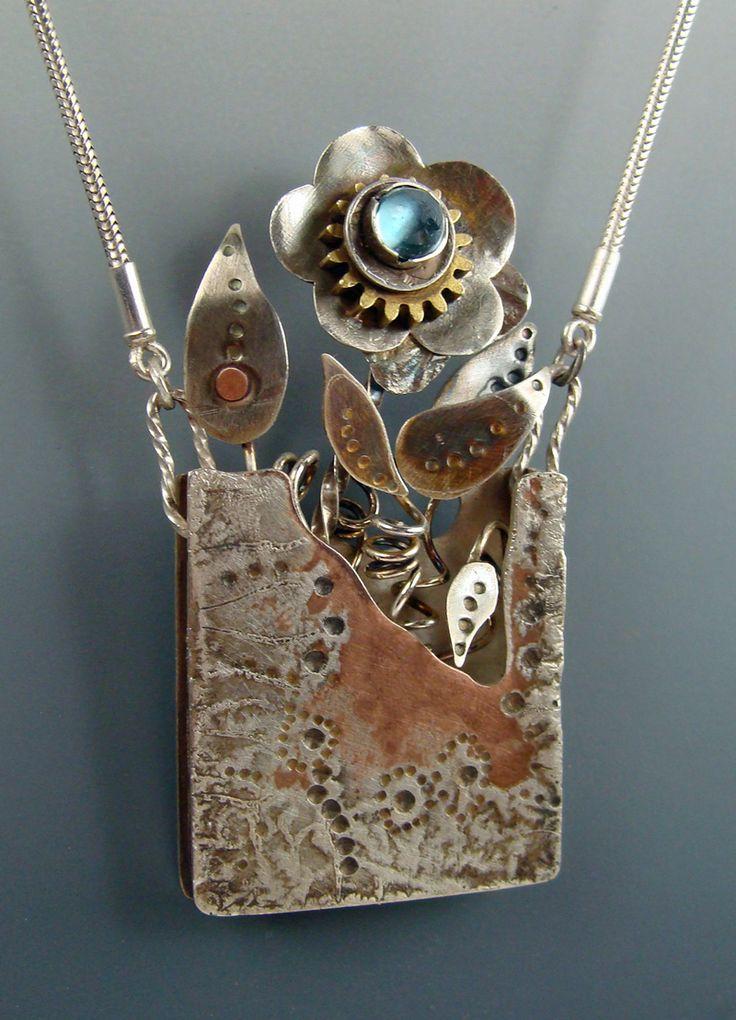 "Necklace | Nancy Lee. ""Poppy Season"". Found objects, Shibuichi and Blue tourmaline"