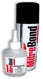 Mitrebond - the strongest, fast setting glue on the market! Instant adhesive that sticks fast & forever. Versatile. Bond almost anything, even totally different materials. Just imagine.... Glue glass to metal, stick wood to aluminum, attach acrylic to granite, join rubber to ceramic. Sets in under 15 seconds. Works on crown moulding, exterior trim, chair rail, etc...