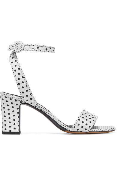 Tabitha Simmons - Leticia Polka-dot Twill Sandals - White - IT36.5