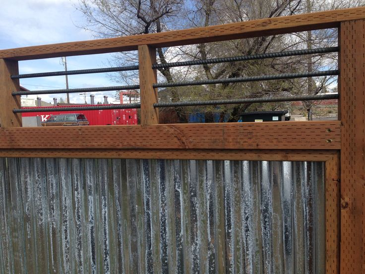 Galvanized Panel With Rebar Rustic Fence Landscape