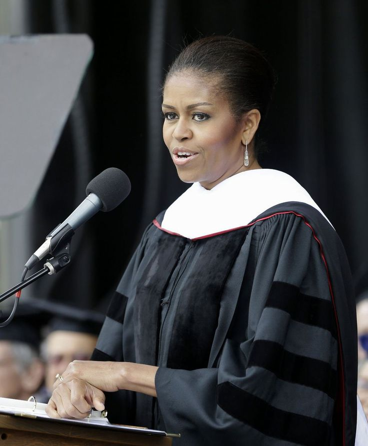 25may2015---first lady michelle obama delivering commencement speech at oberlin college, oberlin, ohio